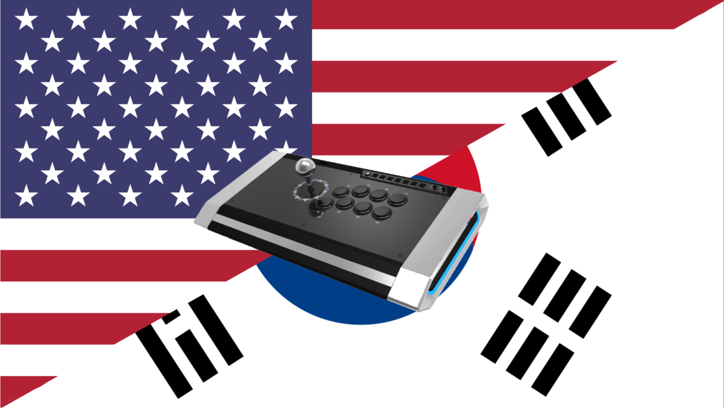 a split united states and south korean flag with a fightstick on top