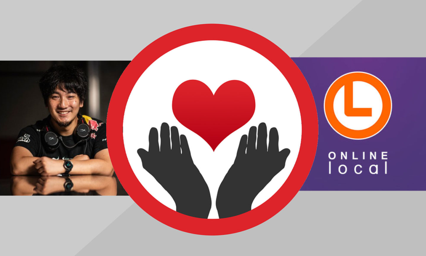 daigo, the logo for the online local, and a pair of hands holding out a heart