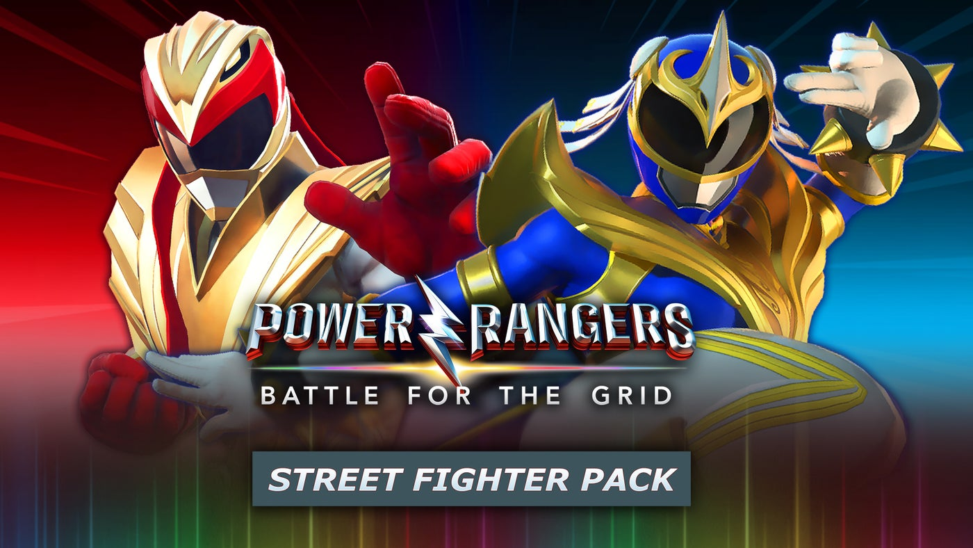 the promo image for ryu and chun li's inclusion in power rangers: battle for the grid, featuring both characters in their ranger getups